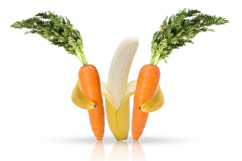 Banana fruit hugging carrots for love of health